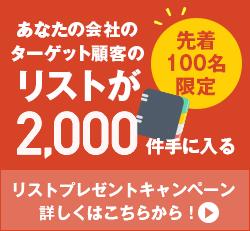 先着100名限定 あなたの会社のターゲット顧客のリストが2,000件手に入るリストプレゼントキャンペーン